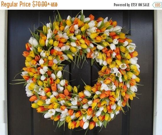 SUMMER WREATH SALE Spring Decor- Mother's Day Wreath- Easter Wreath- Spring Wreath- 24 inch Extra Large Wreath, Orange Twist