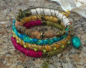 Recycled Sari Silk Bracelets