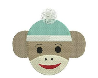 SALE 65% OFF Sock Monkey Face Embroidery Design Filled 4x4 and 5x7 Instant Download