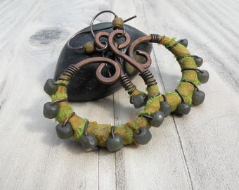 Silk Wrapped Spiral Earrings, Medium, Olive and Grey, Bohemian Hoops, Dark Copper Dangles, with Sterling Ear Wires