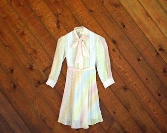 20% off SUMMER SALE. . . Rainbow Striped Girls Mini Dress - Vintage 60s 70s