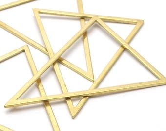 Brass Triangle Ring, 6 Raw Brass Triangles (53x53x40mm) Bs-1307