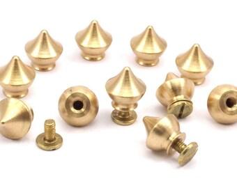6 Raw Brass Drawer Handles , (12x11mm) Y266