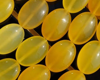 Yellow Chalcedony Agate 18x13 Mm Oval Gemstone Beads 15.5 Inches G31