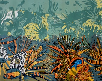 Very Large woodcut: Lionfish, Coral Reef, Oceanic playful wall art
