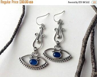 eye earrings-sterling silver dangle earrings-feminine earrings-statement earrings-gypsy earrings-drop earrings-blue earrings-agate jewelry