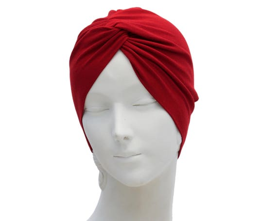 Red Turban Hat Chemo Turban Women's Turban Hat Hair Covering Scarf Beach Coverup Chemo Cap Hair Scarf Fashion Turban 1940s Chemo Hat