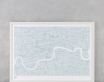 London, London Map, London Type Map, London Wall Art, London Wall Print, London Word Map, Central London, London Screenprint, London Art