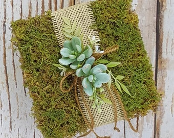 Rustic Moss Ring Bearer Pillow with Succulents for your Wedding