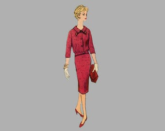 1950s Two-Piece Suit Dress pattern Simplicity 2731 Bust 35 Half Size Slenderette 3/4 and short set in sleeves Back kick pleat UNCUT