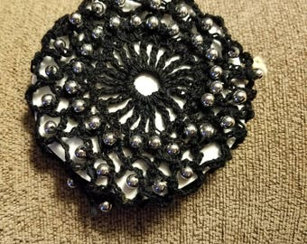 Black with silvertone bun cover.  SCA.  Wedding.  Prom.   Civil war.  Ready to ship