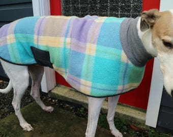 checks in aqua and mauve...winter coat for a greyhound in vintage wool blanket and fleece