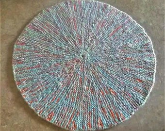 Buy Bonnie's Hand Knit Blue/Variegated Orange Round Dish Cloth Available @ cyicrochet