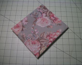 """Floral FQ, Cotton Fabric, light mint background, 27"""" x 17"""". Reclaimed fabric."""