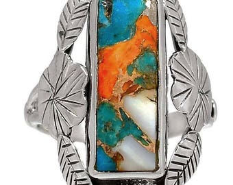 Turquoise and Spiny Oyster Rectangular Size 9 Silver Ring