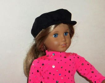 18 Inch Doll, Black Faux Suede, Newsboy Hat,  15 Inch Baby Doll, Biker Cap, American Made, Girl Doll Clothes