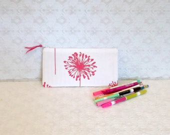 Ivory Pink Dandelion Floral Canvas Pencil Makeup Case