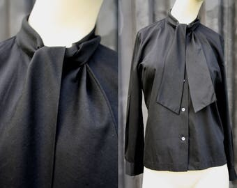 Vintage Styled by Terry Chicago Black Long Sleeve Pussy Blouse Secretary Style Cotton Retro Woman's Blouse