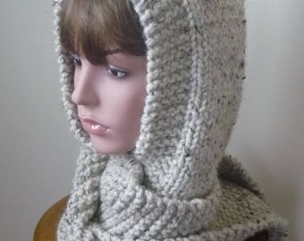 Hooded Scarf Chunky Knit Scoodie Teen Adult Warm Hooded Scarf - Oatmeal - Ready to Ship - Direct Checkout