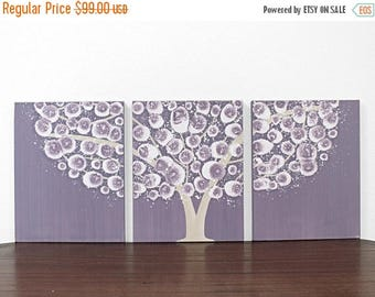 ON SALE Baby Girl Nursery Art - Purple Tree Wall Art - Original Acrylic Painting on Triptych Canvas - Medium 35x14