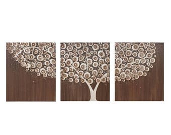ON SALE Original Acrylic Painting - Triptych Tree Art on Canvas - Brown Wall Art Decor - Large 50x20