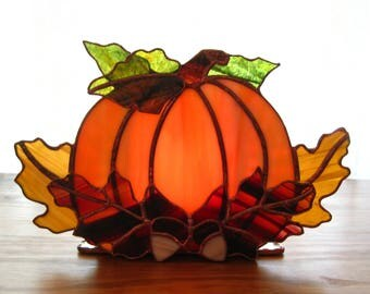 Autumn Harvest Stained Glass Tea Light Holder no. 1 Stained Glass Pumpkin Fall Candle Holder Halloween Candle Holder Pumpkin Tealight Holder
