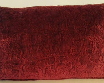 """20"""" x 13"""" Lumbar Throw Pillow Cover Chenille Damask Crest Scrolls Maroon Burgundy Red Country English Cottage Shabby Chic"""