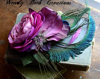 Frivolous Hair Clip Fascinator- Wedding, Fairy, Steampunk, Belly Dance, Hair Garden, ATS, Tribal Fusion, Pin Up Girl, Pink, Peacock, Purple