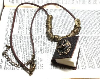 Oxidized Brass Wolf Charm Miniature Sketch Book Pendant