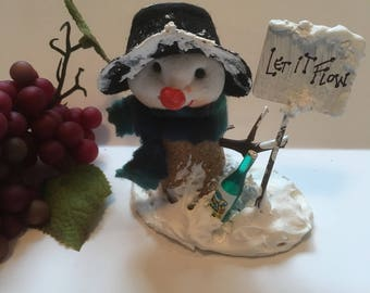 wine lover's snowman figurine
