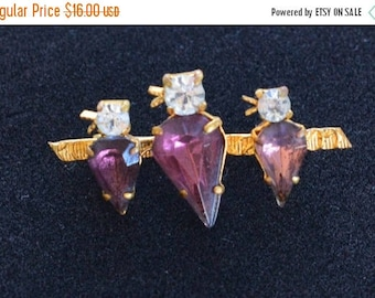 ON SALE Adorable Vintage Three Bird on a Branch Brooch, Amethyst, Clear Rhinestone, Gold tone (K2)