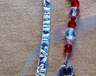 ON SALE Pretty Handmade Crystal Heart Bookmark, Red, Clear Beaded (Q1)