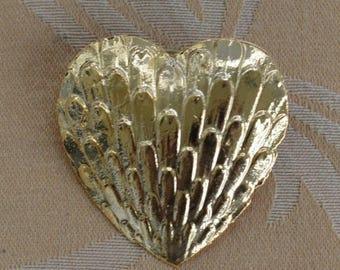 ON SALE Pretty Vintage Gold tone Large Heart Tac Pin (AJ14)