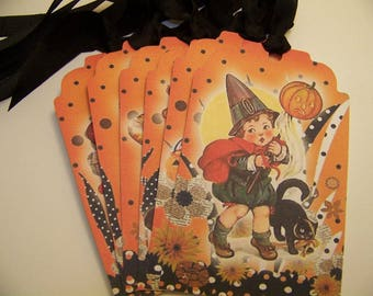 Halloween Tags Cute Halloween Orange and Black Whimsical Halloween Vintage Style - Set of 6