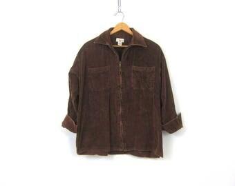 Vintage Brown Corduroy Shirt Jacket Zipper Up Coat Plain Normcore Casual Jacket with Pockets Women's Size Large