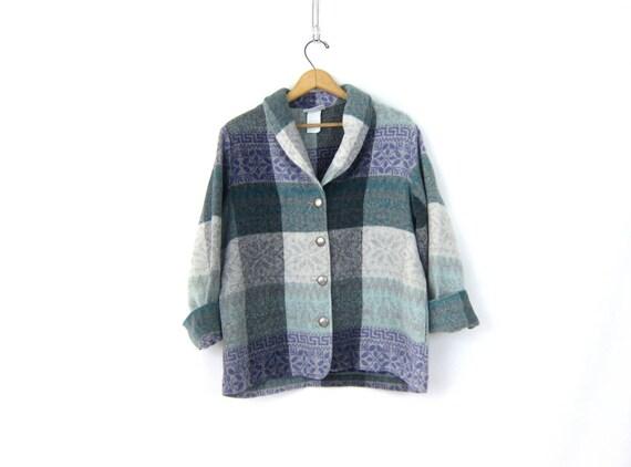 Leaf Print Fleece Blanket Coat Pale Pastel Fall Winter Pattern Fleece Jacket Button Up Fall Sweater Coat Womens size