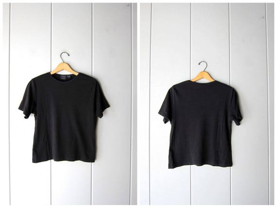 80s Black Tshirt Simple Black Shirt Basic Boxy Rib Tee Simple Minimal Modern Vintage Cotton Ribbed Top Casual Crop Tee Shirt Womens Medium