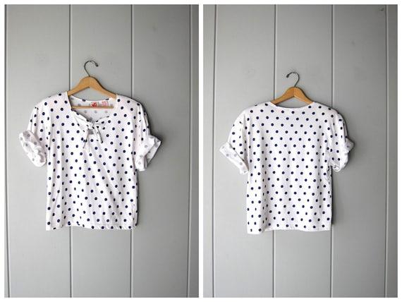 White Boxy Shirt 80s Polka Dot Shirt Blue White Short Sleeve Shirt Vintage Tie Front Top Retro Hipster Tshirt Womens Medium Large