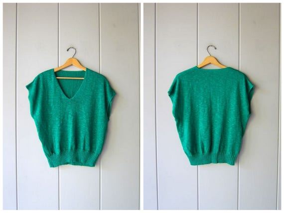 80s Green Knit Sweater Top Oversized THIN Knit Sweater Vest Top Cap Sleeve Boho Holiday Sweater Crop Knit Shirt Vintage Womens Large XL