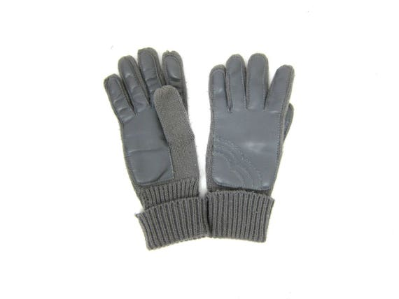 Gray Sweater Knit Gloves 1970s Leather Gloves Vintage Driving Gloves wWinter gloves Women's Size Small