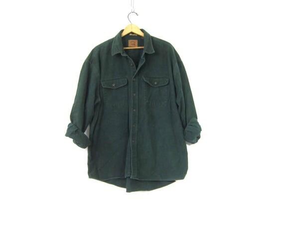 Rugged Soft Flannel Shirt Green Camping Shirt Vintage Boyfriend Button Down tomboy Collar Pocket shirt Men's Size XLT