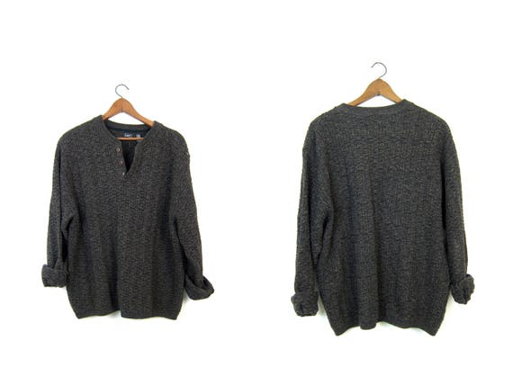 Oversized Dark Brown Black Sweater Button Up Henley Sweater Slouchy Boyfriend Pullover Textured Cotton Knit Sweater Sweater Men's XL