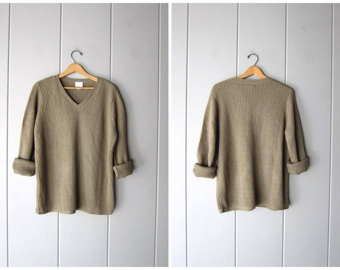 80s Oversize Waffle Sweater Taupe Knit Vneck Sweater Slouchy Soft Nubby Pullover Oversized Sweater Basic Thick Knit Jumper Womens Large XL