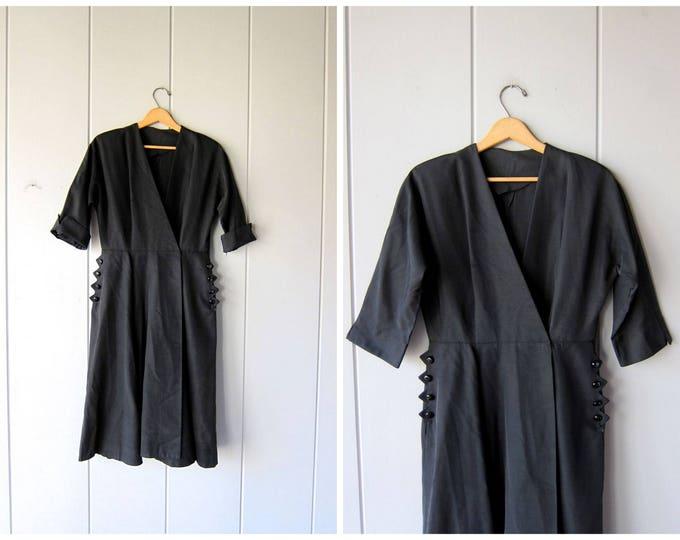Vintage 50s Black Dress Coat Or Wrap Dress 40s Swing Coat Open Front Side Slit Midi Dress Mid Century Modern Sexy Side Pockets Womens Medium