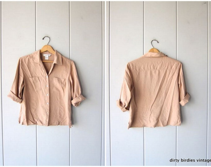 Beige SILK Blouse 90s Crop Top Button Up Pocket Shirt Minimal Quarter Sleeve Minimalist Nude Shirt 1990s Modern Vintage Womens Medium