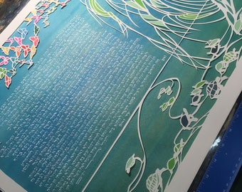 Butterflies and Turtles multilayer papercut ketubah - Hebrew and English hand lettering