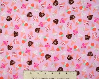 Food Fabric - What's the Scoop Ice Cream Toss Pink - Benartex Kanvas YARD