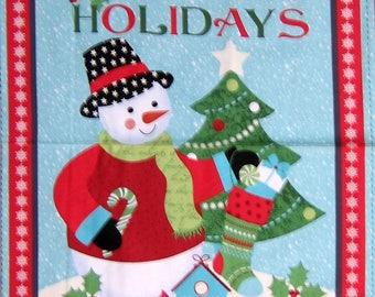 "24"" Fabric Panel - Benartex Happy Holidays Snowman Wallhanging Blue"