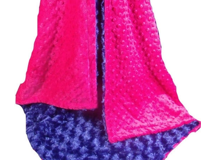 SALE Pink and  Navy Blue Rose Swirl Baby Blanket, Fuchsia Navy Blanket, , available in three sizesCan Be Personalized