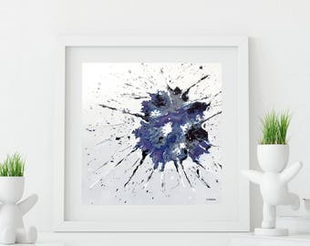 Purple Abstract Art Print, Splash Art Modern Dynamic Art Print, Fluid Art Living Room Decor